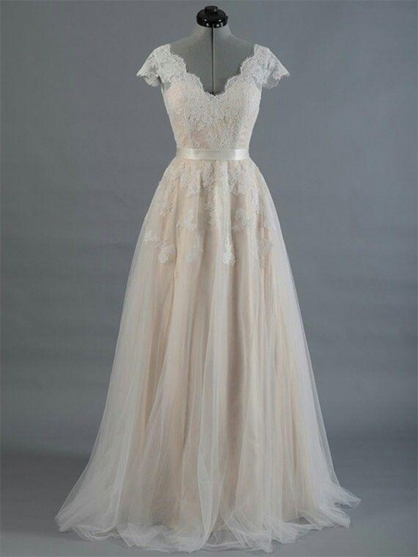 A-Line/Princess V-neck Sleeveless Lace Floor-Length Wedding Dresses With Applique