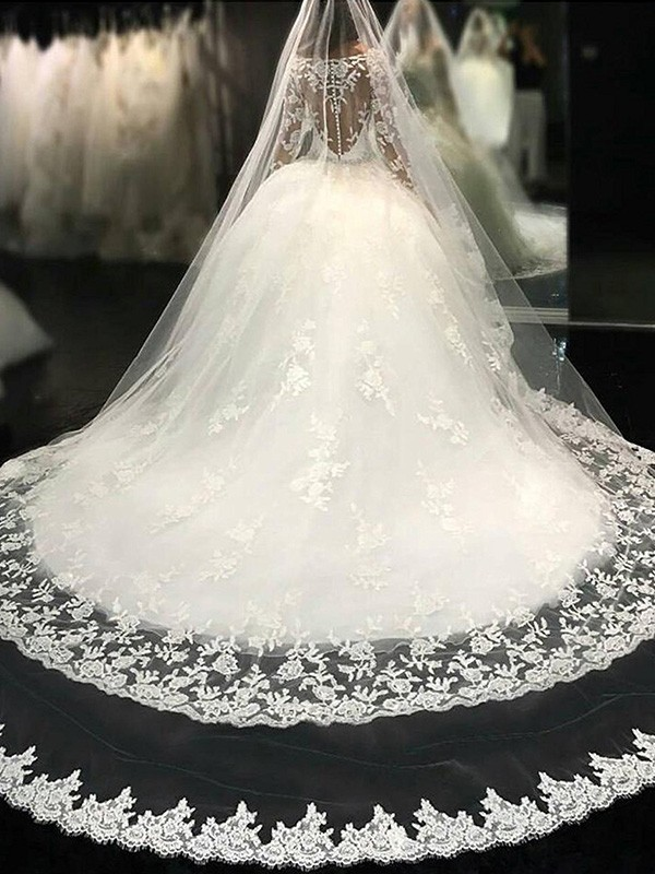Ball Gown Scoop Long Sleeves Lace Tulle Cathedral Train Wedding Dresses With Applique