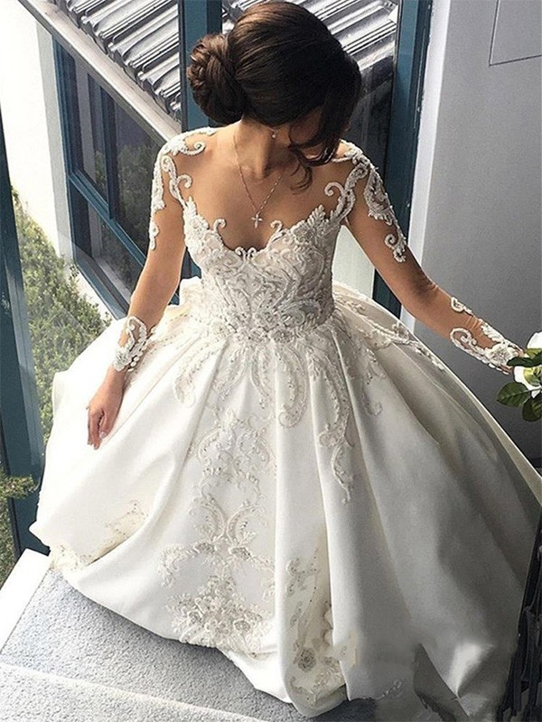 Ball Gown Scoop Long Sleeves Satin Cathedral Train Wedding Dresses With Applique