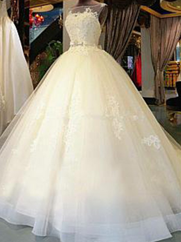 Ball Gown Scoop Sleeveless Tulle Sash/Ribbon/Belt Cathedral Train Wedding Dresses With Applique