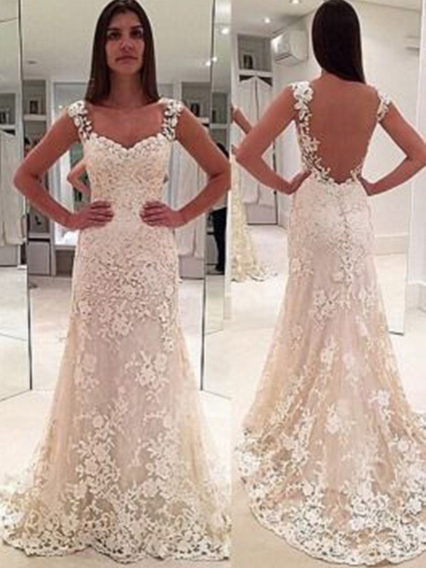 Sheath/Column Sweetheart Straps Sleeveless Lace Court Train Wedding Dresses With Applique