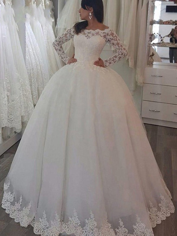 Ball Gown Off-the-Shoulder Long Sleeves Lace Sweep/Brush Train Wedding Dresses With Applique