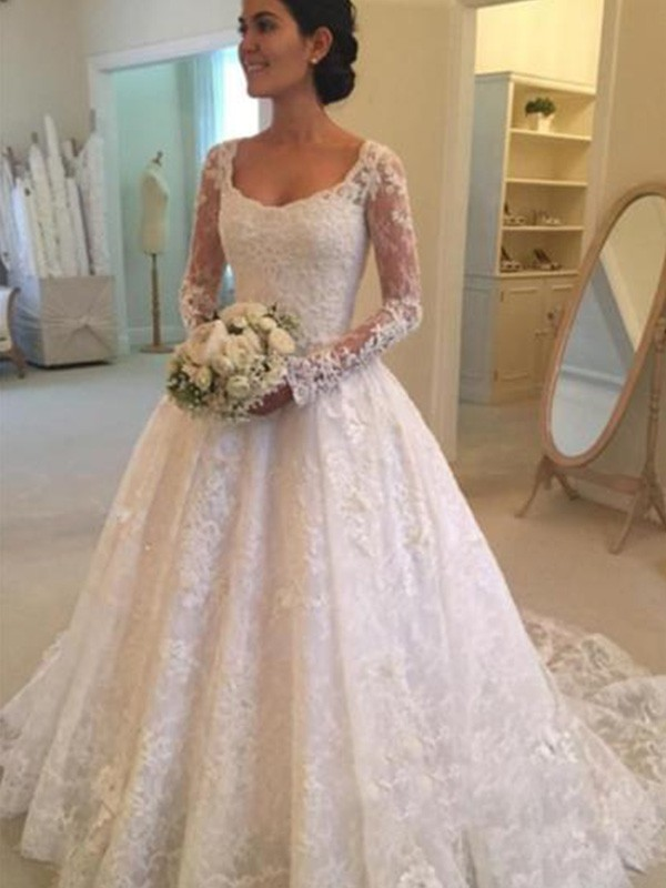 Ball Gown Scoop Lace Long Sleeves Cathedral Train Wedding Dresses With Ruffles