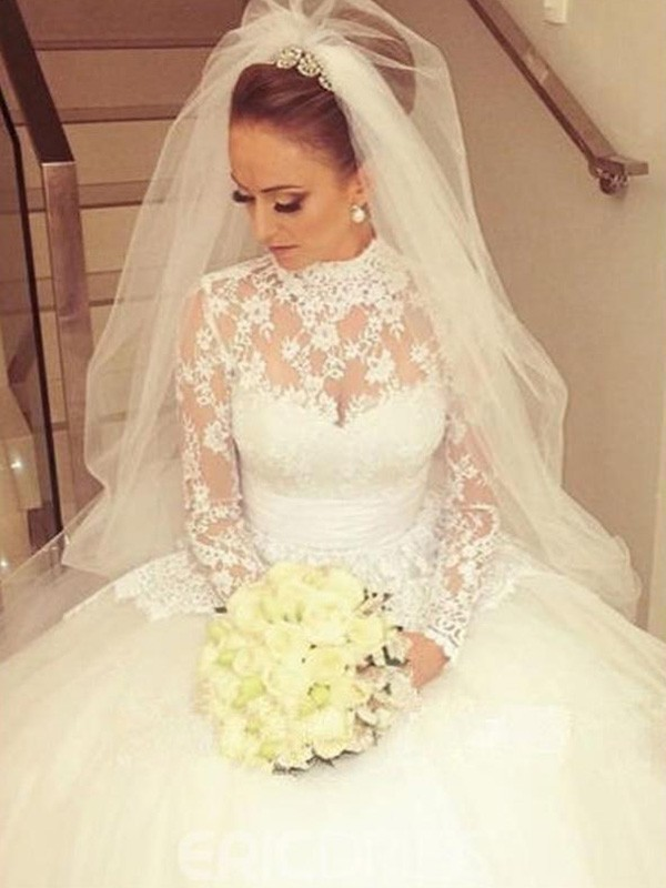 Ball Gown High Neck Lace Long Sleeves Sweep/Brush Train Sash/Ribbon/Belt Wedding Dresses