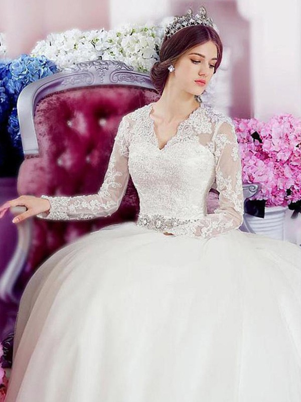 A-Line/Princess V-neck Tulle Lace Long Sleeves Cathedral Train Wedding Dresses With Applique