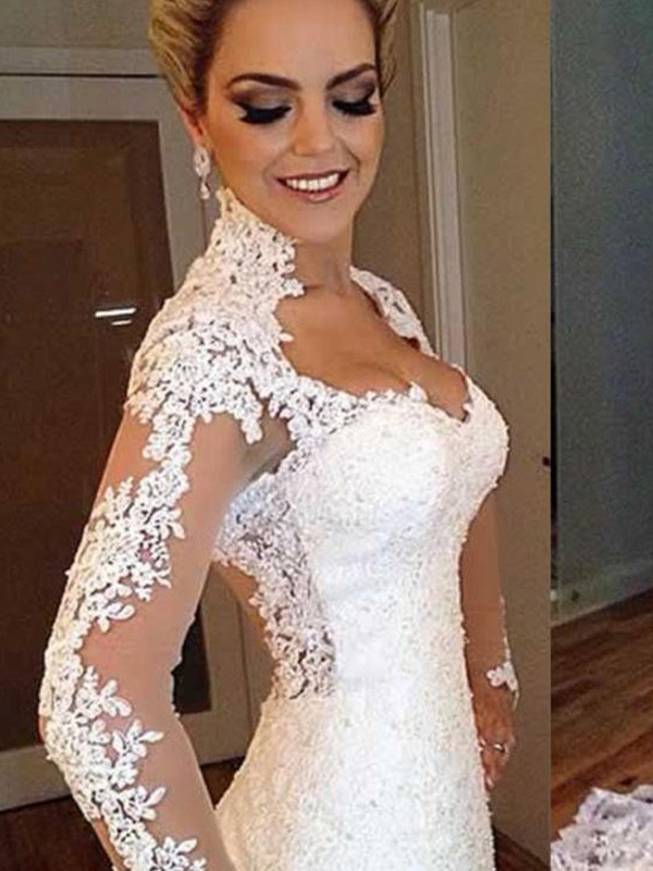 Trumpet/Mermaid V-neck Long Sleeves Lace Sweep/Brush Train Wedding Dresses With Applique