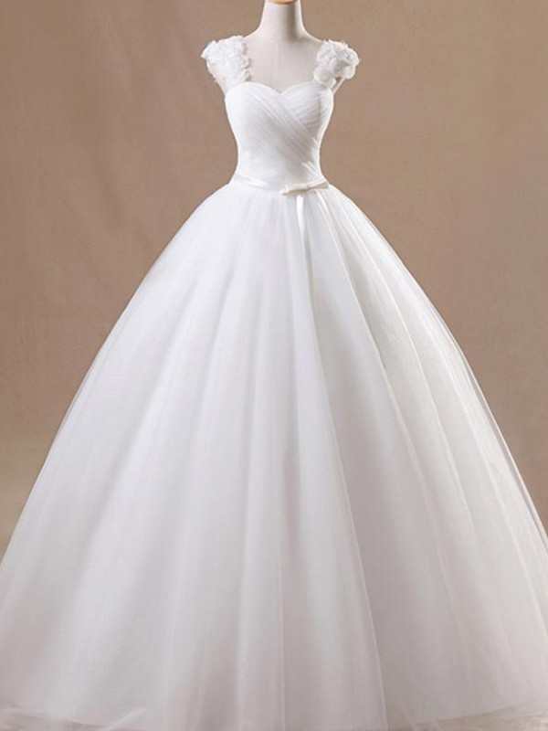 Ball Gown Square Sleeveless Floor-Length Tulle Wedding Dresses With Ruffles
