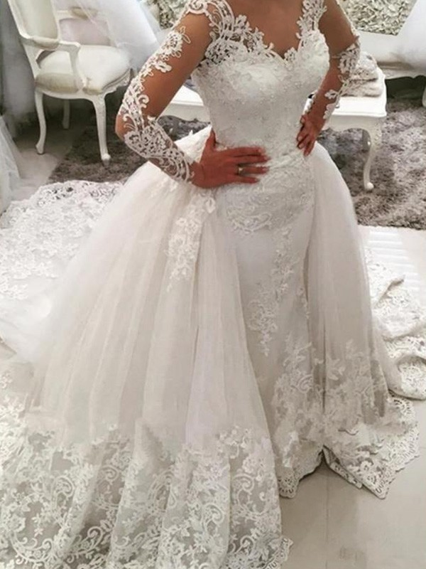 Ball Gown V-neck Long Sleeves Cathedral Train Lace Tulle Wedding Dresses With Applique