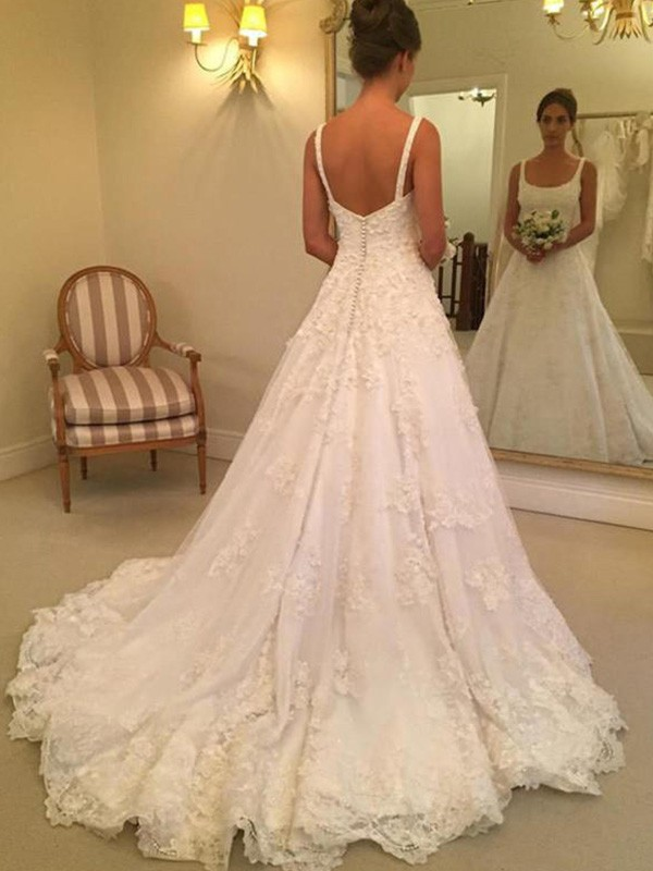 A-Line/Princess Lace Sleeveless Straps Square Court Train Wedding Dresses With Applique