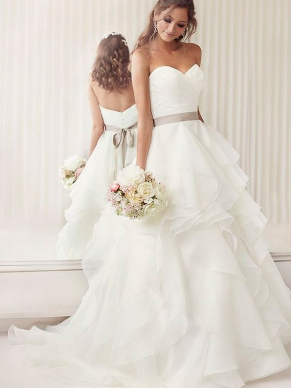 A-Line/Princess Sweetheart Sleeveless Chapel Train Organza Ruffles Sash/Ribbon/Belt Wedding Dresses