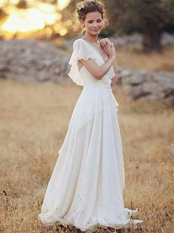 A-Line/Princess V-neck Ruched Short Sleeves Chiffon Floor-Length Wedding Dresses