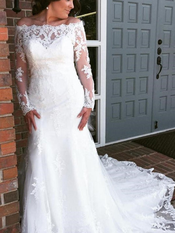 Trumpet/Mermaid Tulle Off-the-Shoulder Long Sleeves Cathedral Train Wedding Dresses With Applique