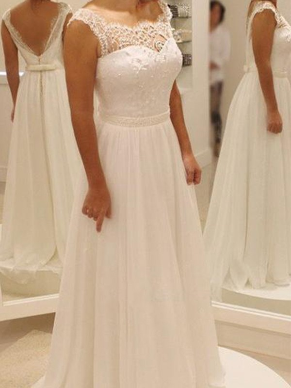 A-Line/Princess Scoop Sleeveless Chiffon Lace Bowknot Sweep/Brush Train Wedding Dresses