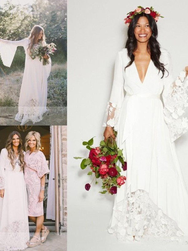 A-Line/Princess V-neck Lace Chiffon Sash/Ribbon/Belt Long Sleeves Floor-Length Wedding Dresses