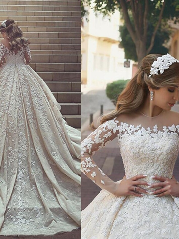 Ball Gown Scoop Long Sleeves Chapel Train Satin Wedding Dresses With Applique