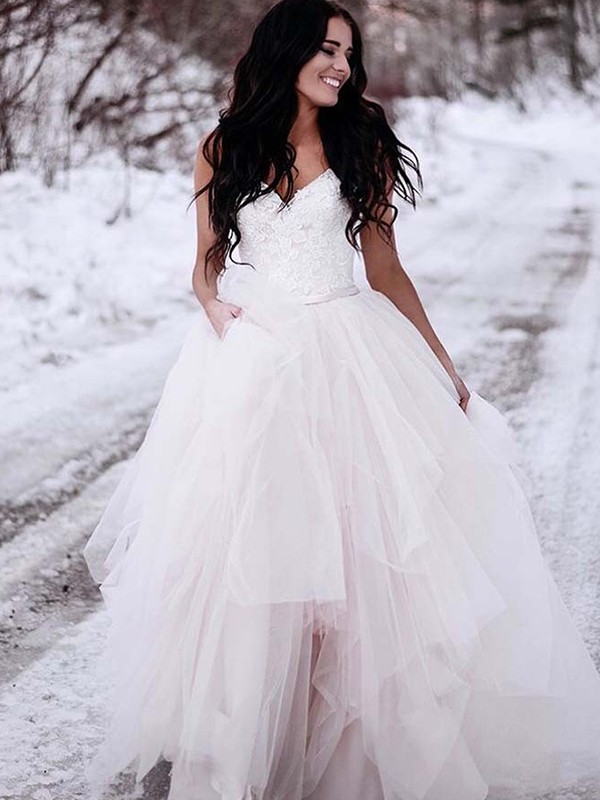 A-Line/Princess V-neck Sleeveless Tulle Floor-Length Wedding Dresses With Ruched