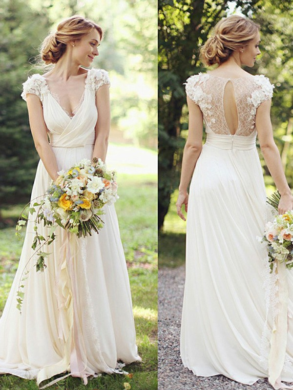 A-Line V-neck Short Sleeves Chiffon Sweep/Brush Train Wedding Dresses With Ruched