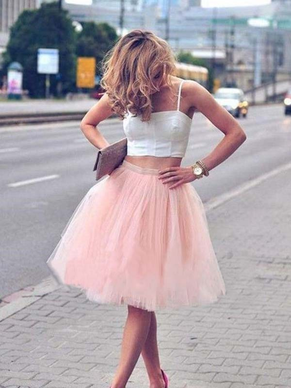 A-Line/Princess Spaghetti Straps Tulle Sleeveless Pleats Knee-Length Two Piece Dresses