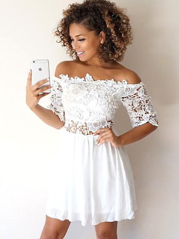 A-Line/Princess Chiffon Off-the-Shoulder 1/2 Sleeves Short Dresses With Applique