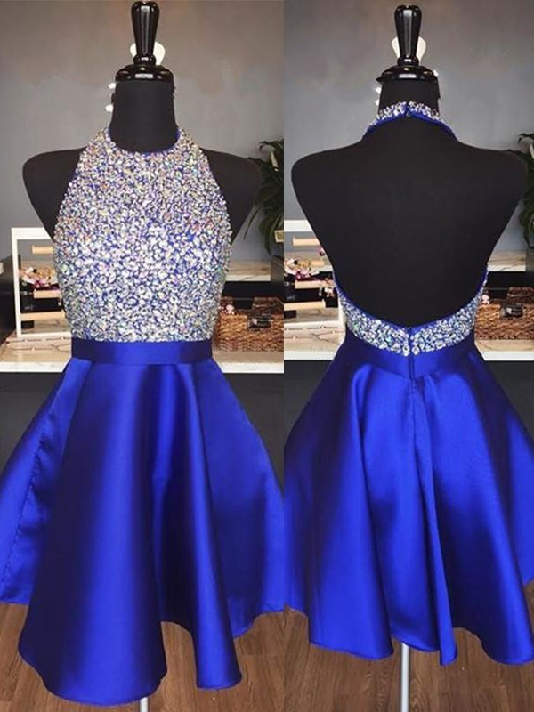A-Line/Princess Halter Satin Sleeveless Short/Mini Dresses With Beading