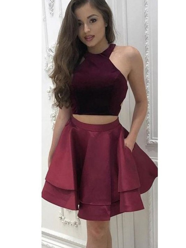 A-Line/Princess Halter Sleeveless Satin Two Piece ShortDresses With Ruffles
