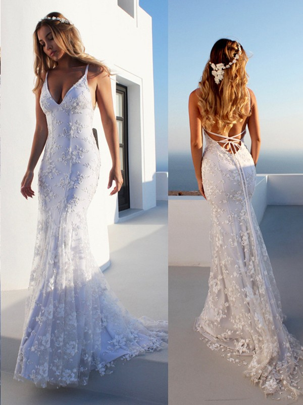 Mermaid Spaghetti Straps Lace Sleeveless Court Train Tulle Wedding Dresses