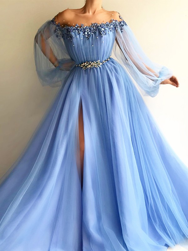 A-Line/Princess Off-the-Shoulder Long Sleeves Tulle Beading Floor-Length Dresses