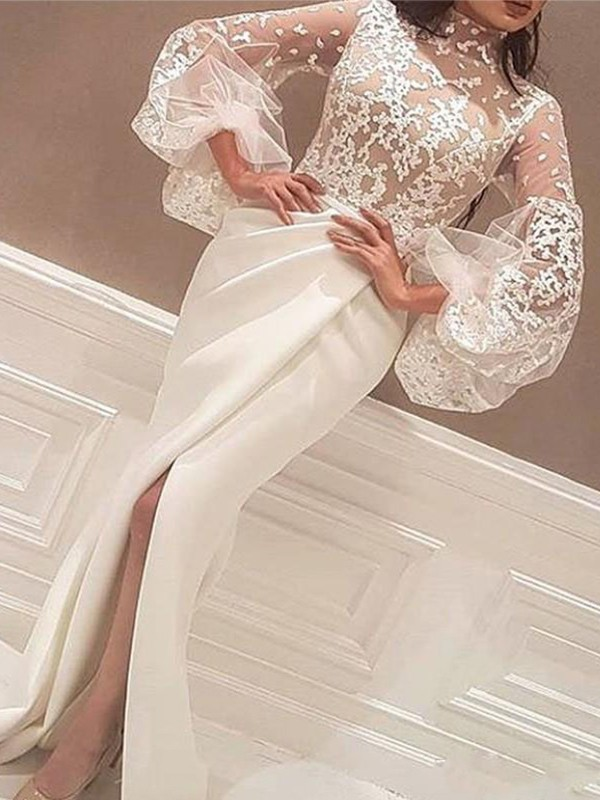Trumpet/Mermaid High Neck Lace Long Sleeves Floor-Length Dresses