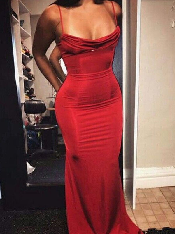 Sheath/Column Spaghetti Straps Sleeveless Ruffles Floor-Length Spandex Dresses