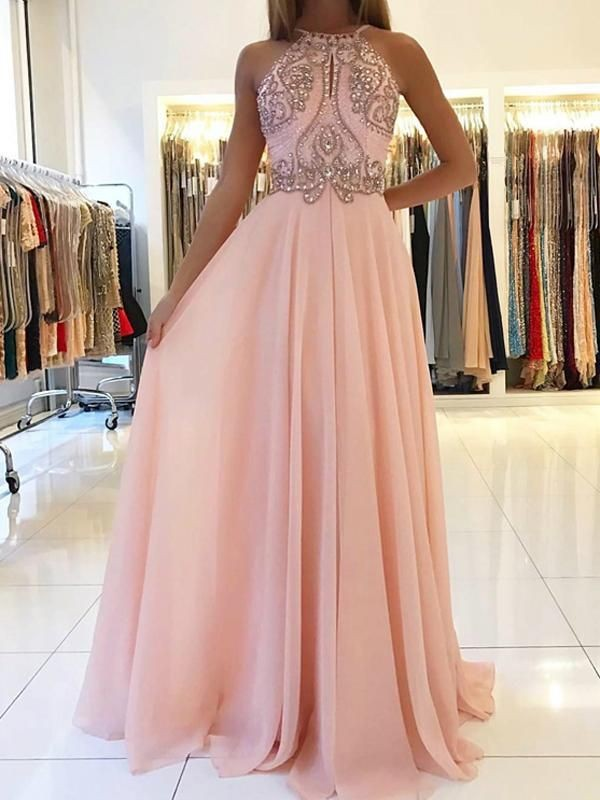 A-Line/Princess Halter Sleeveless Beading Chiffon Sweep/Brush Train Dresses