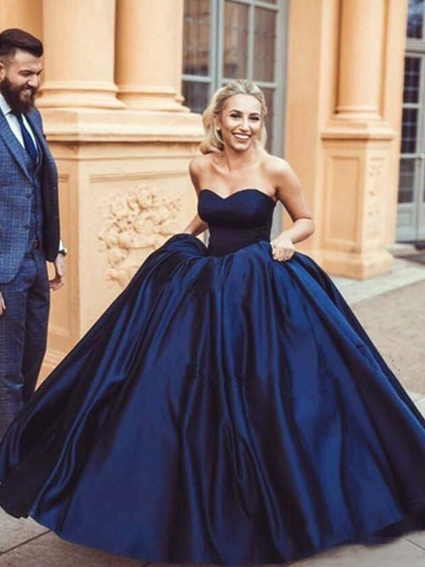 Ball Gown Sweetheart Sleeveless Sweep/Brush Train Ruffles Satin Dresses