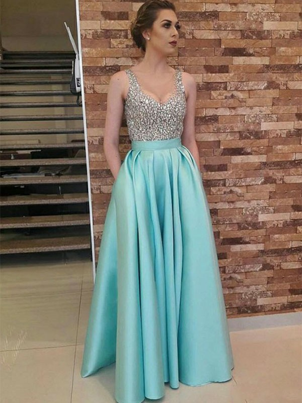 A-Line/Princess V-neck Sleeveless Floor-Length Beading Satin Dresses