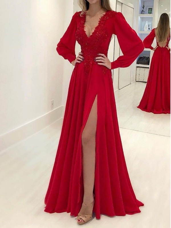 A-Line/Princess V-neck Long Sleeves Sweep/Brush Train Applique Chiffon Dresses