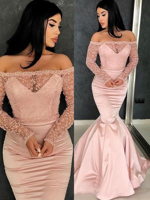 Trumpet/Mermaid Off-the-Shoulder Long Sleeves Sweep/Brush Train Ruffles Satin Dresses