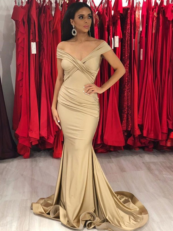 Trumpet/Mermaid Off-the-Shoulder Sleeveless Ruffles Sweep/Brush Train Satin Dresses