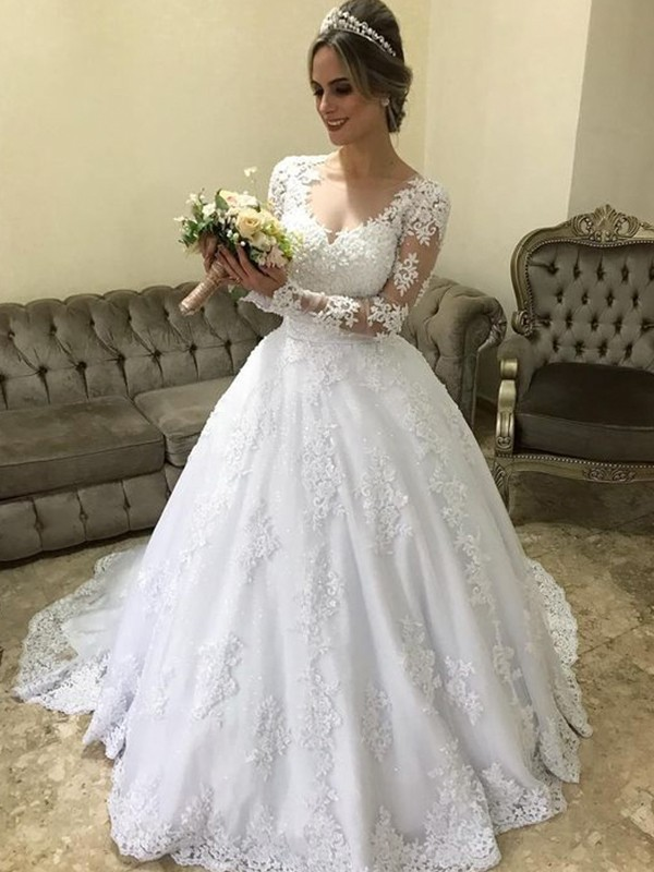 Ball Gown V-neck Long Sleeves Satin Sweep/Brush Train Applique Wedding Dresses