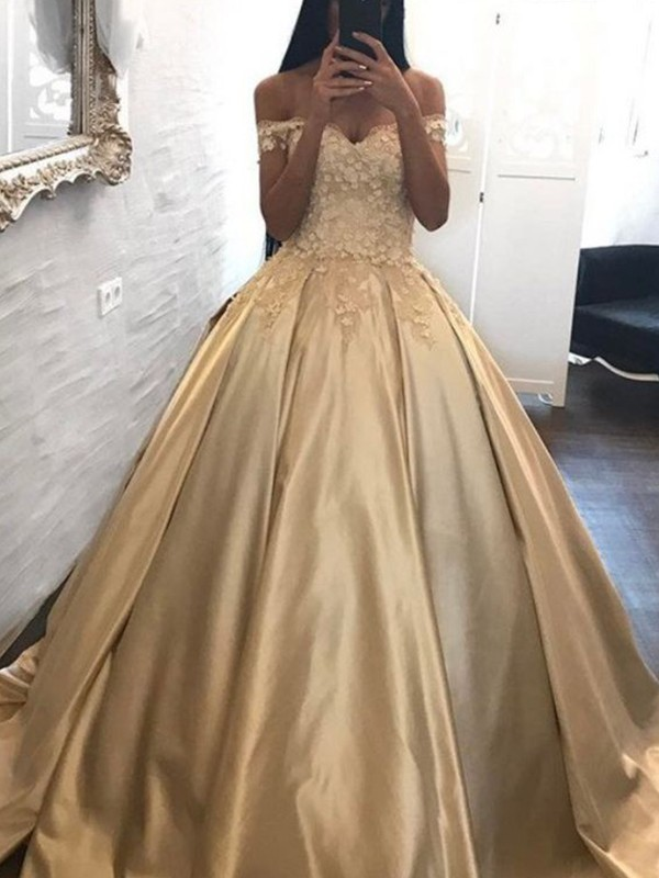 Ball Gown Off-the-Shoulder Sleeveless Applique Satin Sweep/Brush Train Dresses