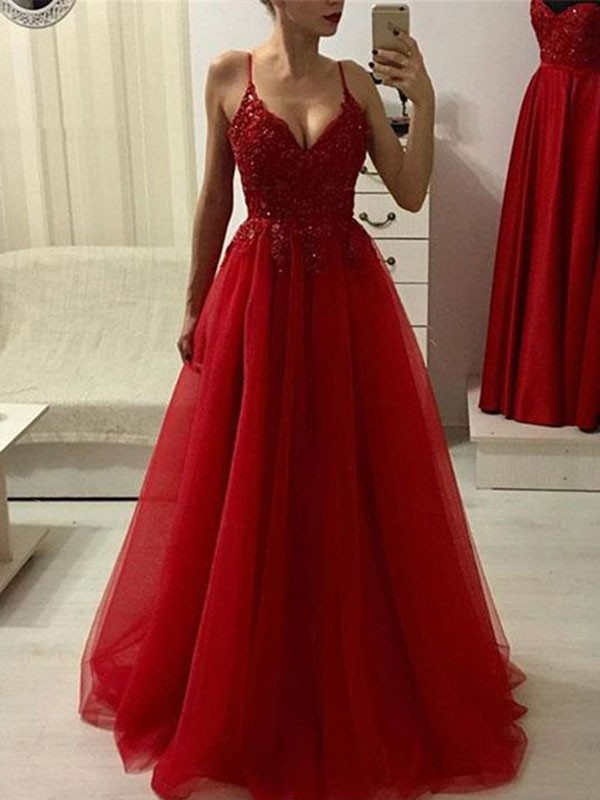 A-Line/Princess Spaghetti Straps Sleeveless Applique Tulle Floor-Length Dresses