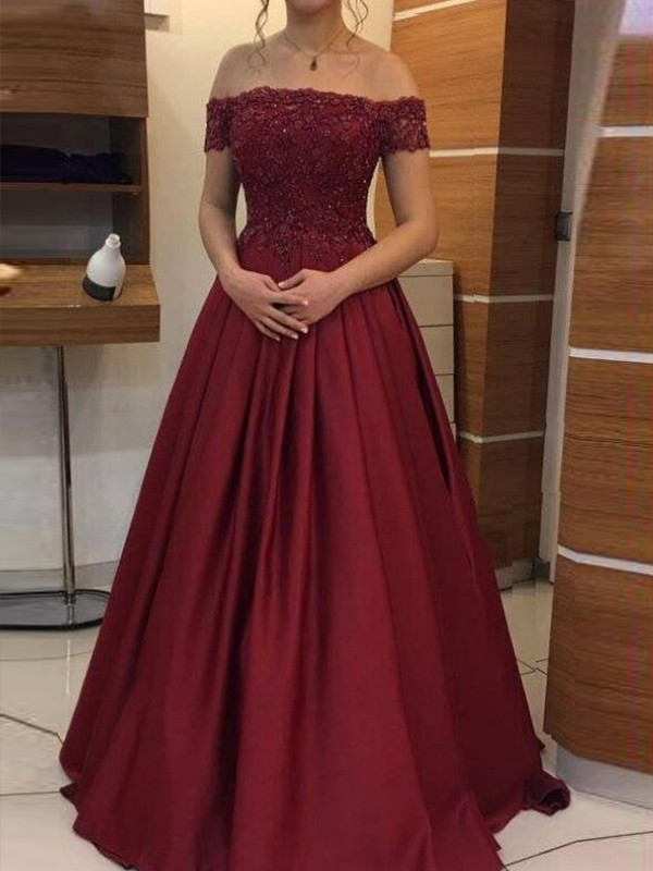 Ball Gown Off-the-Shoulder Sleeveless Satin Floor-Length Applique Dresses