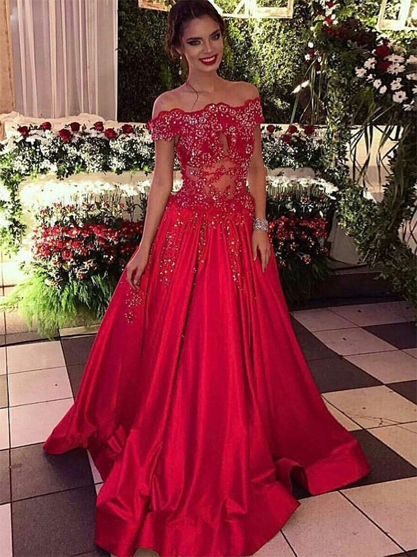 Ball Gown Off-the-Shoulder Sleeveless Satin Sweep/Brush Train Beading Dresses