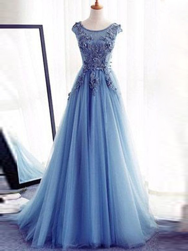 Ball Gown Jewel Sleeveless Applique Sweep/Brush Train Tulle Dresses