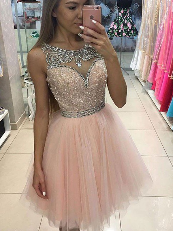 A-Line/Princess Scoop Sleeveless Tulle Short/Mini Dresses With Beading
