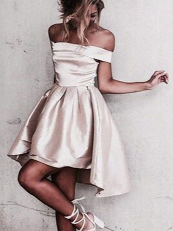 Off-the-Shoulder A-Line/Princess Sleeveless Satin Short/Mini Dresses