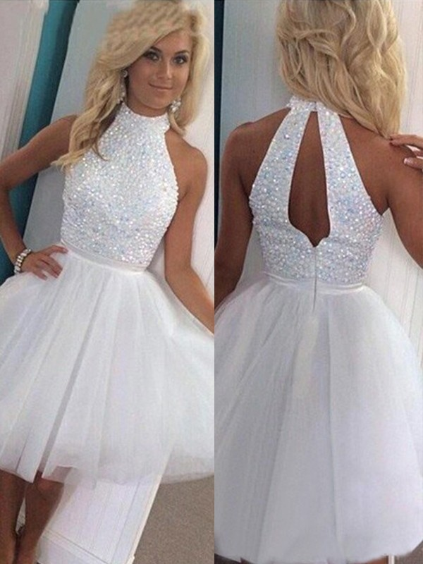 A-Line/Princess Halter Sleeveless With Beading Tulle Short/Mini Dresses
