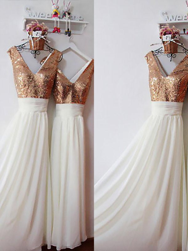 A-Line/Princess V-neck Sleeveless Chiffon Floor-Length Bridesmaid Dresses With Sequin