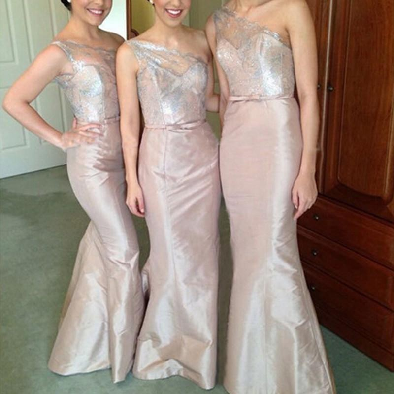 Trumpet/Mermaid One-Shoulder Sleeveless Satin Floor-Length Bridesmaid Dresses