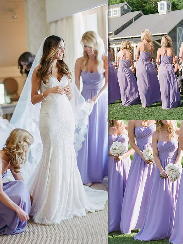 A-Line/Princess Sweetheart Sleeveless Chiffon Floor-Length Bridesmaid Dresses