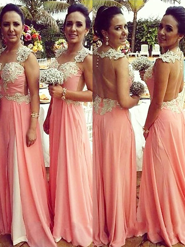 A-Line/Princess Straps Sleeveless Chiffon Floor-Length Bridesmaid Dresses With Applique