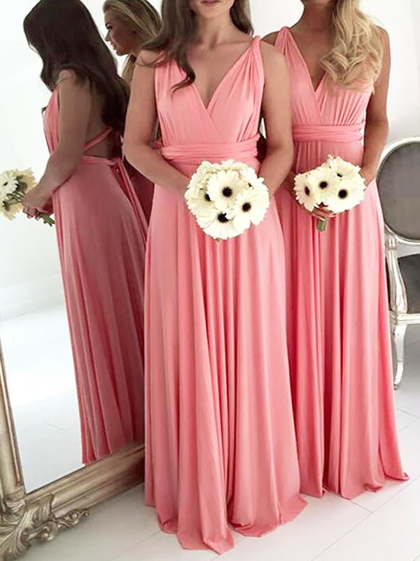 A-Line V-neck Spandex Sleeveless Floor-Length Bridesmaid Dresses