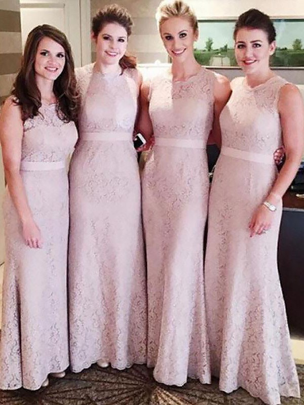 Sheath/Column Lace Scoop Sleeveless Floor-Length Bridesmaid Dresses